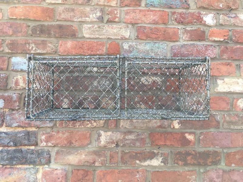 Galvanised Wire Double Basket Industrial Metal Vintage