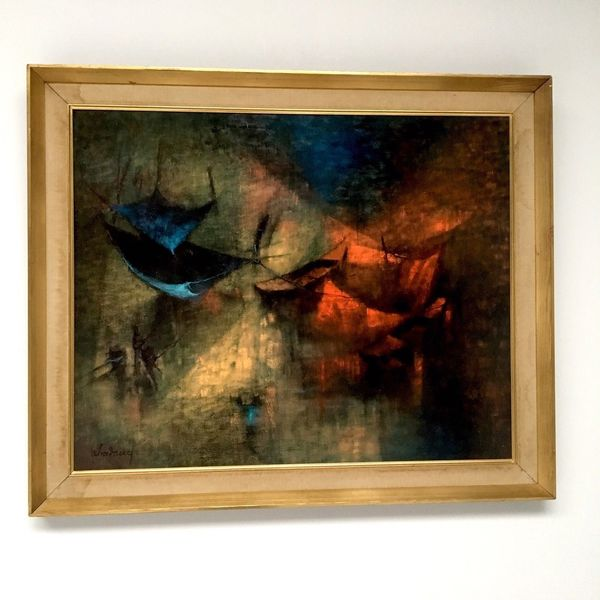 Original Mid Century 1960's Framed Signed Print By Le Ba Dang 'Fishing Nets'