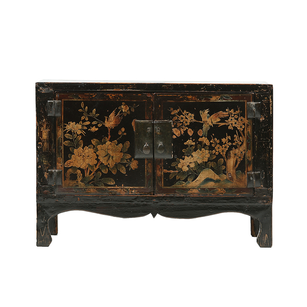 Vintage Chinese Cabinet With Birds And Floral Motifs