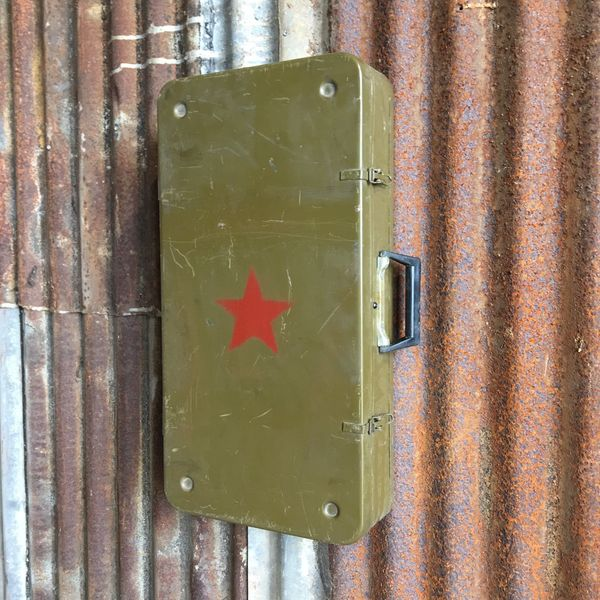 Vintage Military Army Suitcase Cabinet Cupboard
