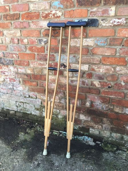 Vintage Crutches Army Field Medical War Shop Display Memorabilia