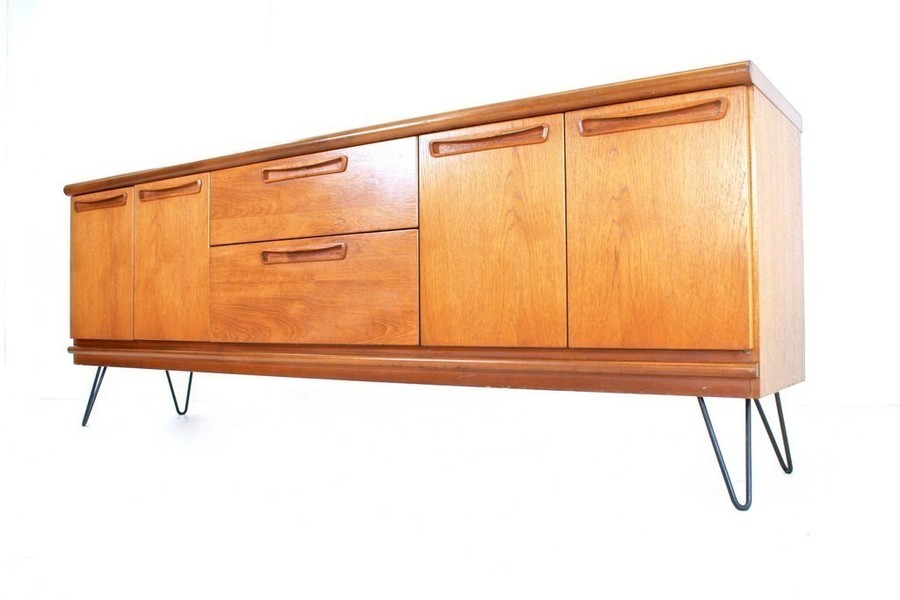 Vintage 1970s Teak Danish Influence Sideboard & Industrial Hairpin Legs