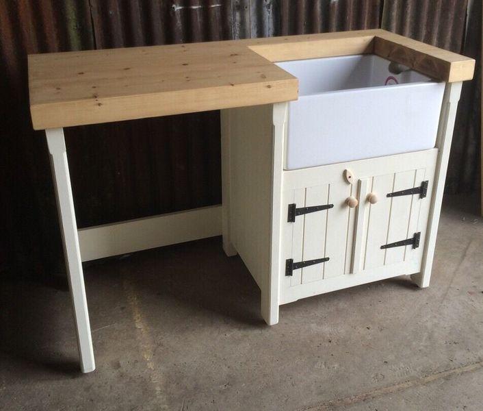 A Pine Freestanding Kitchen Belfast Butler Sink Unit Pine Top Rustic Utility Gap