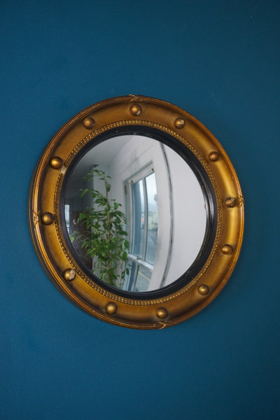 1920's English Regency Style Convex Gold Mirror