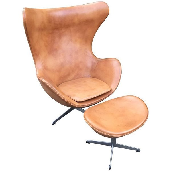 Leather Egg Chair And Ottoman By Arne Jcobsen For Fritz Hansen