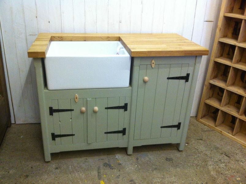 Pine Freestanding Belfast Butler Sink Unit With Oak Worktop Utility Room Kitchen