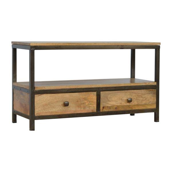 Iron And Mango Wood 2 Drawer Coffee Table
