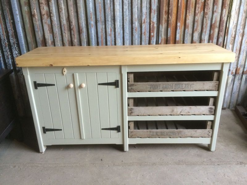 Rustic Wooden Pine Kitchen Double Sided Island Cupboard Tray Shabby Chic