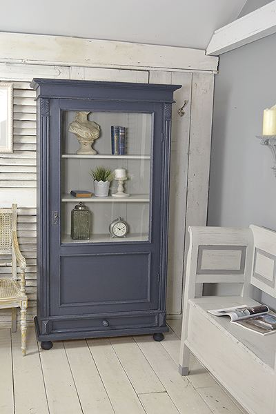 Small Blue Shabby Chic Dutch Linen Cupboard / Display Cabinet