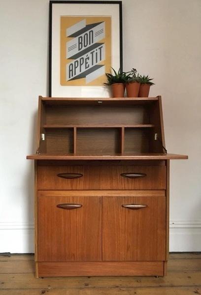 Bureau / Storage / Desk / Workstation / Vintage / Mid Century  /1960s 1970s