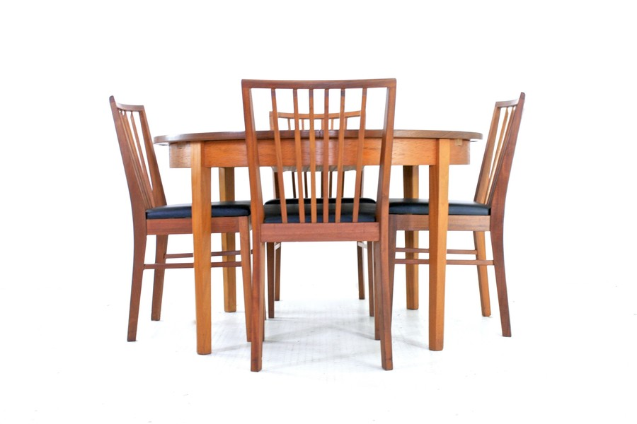 Vintage 1970s Teak Danish Influence Dining Table And 4 Vanson Chairs
