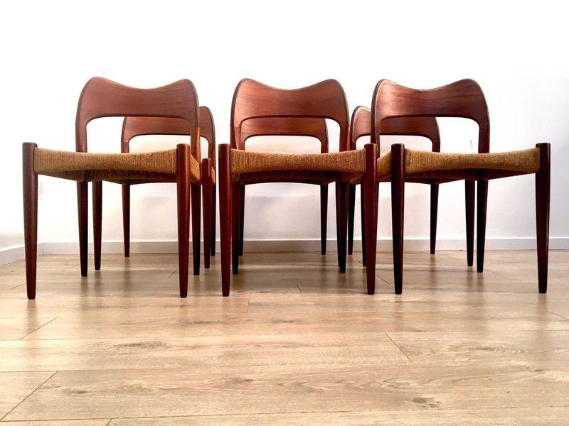 Mid Century Danish Teak Papercord Dining Chairs Arne Hovmand Olsen Mogens Kold