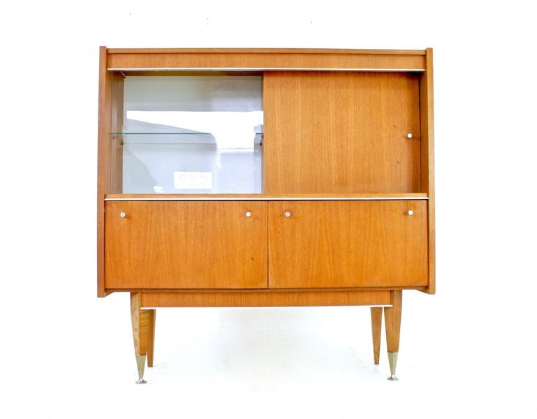 Vintage Teak 1970s Danish Influence Highboard/Display Cabinet