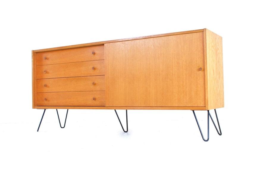 Vintage Teak 1970s Swedish Sideboard On Industrial Hairpin Legs