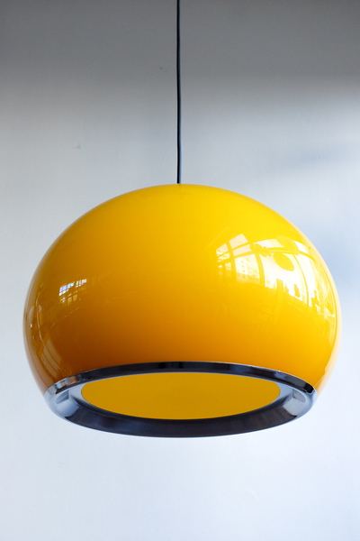 Vintage Yellow Ceiling Lamp By Harvey Guzzini For Meblo, 1970s