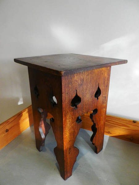 Antique Arts & Crafts Oak Stool Or Side Table C1900