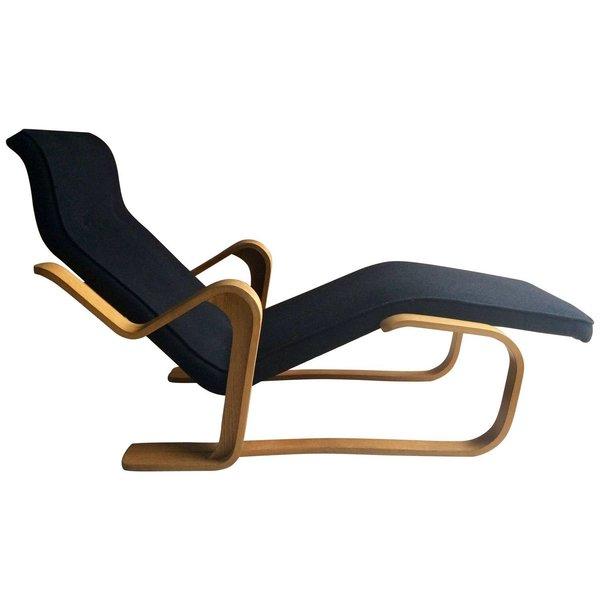 Marcel Breuer Long Chair Chaise Longue Black Mid Century 1970's Bauhaus No. 3