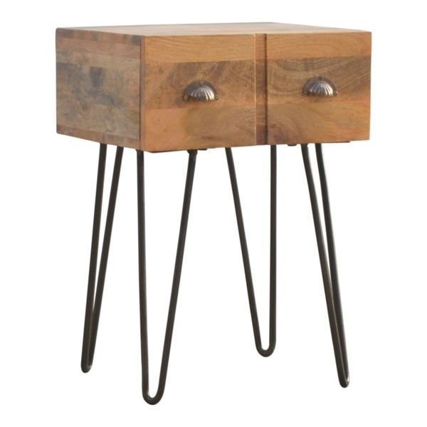 Mango Wood Single Drawer Bedside Table With Hairpin Legs