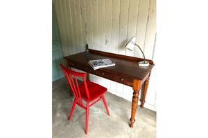 Antique Desk/Console Table Mahogany Two Drawer Desk/Side Table photo