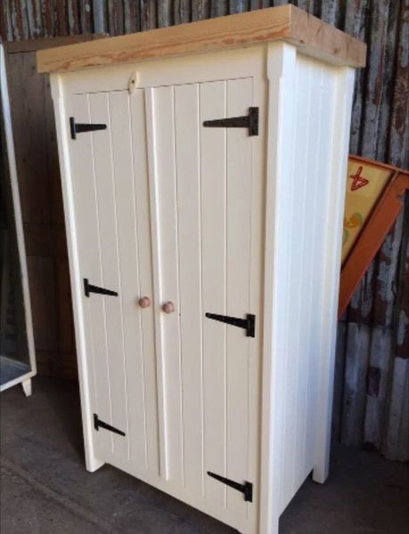 Solid Pine Handmade Rustic Shabby Chic Double Broom Cupboard Great Storage Unit