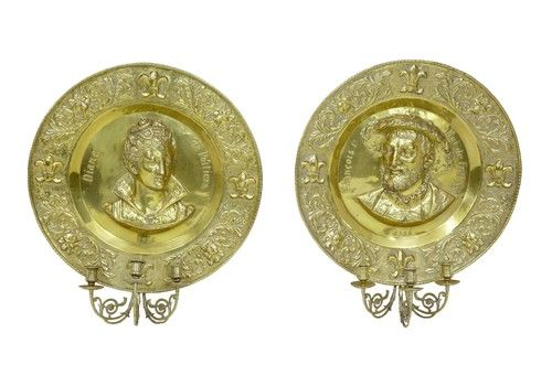 Pair Of 19th Century French Brass Memorial Sconces