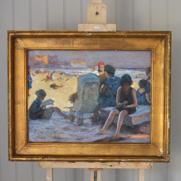 Large French Oil Painting; Après Midi à La Plage