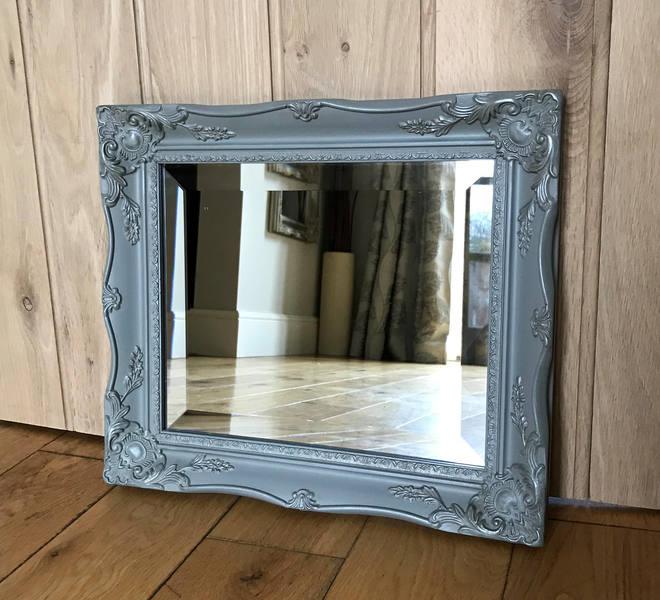 Grey Painted Ornate Mirror