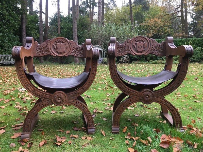 Pair Of Spanish Antique Solid Wood & Leather Hand Carved Chairs