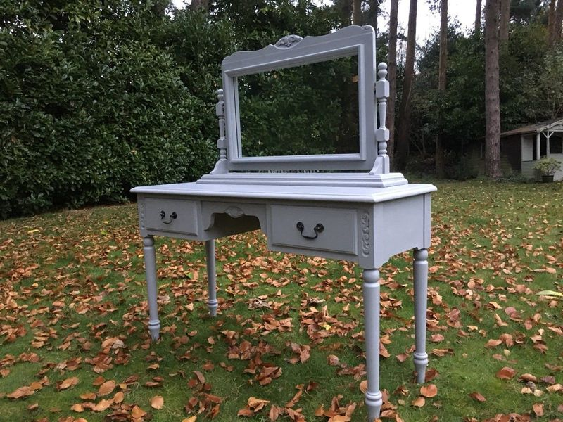 Hand Painted Solid Pine Dressing Table & Mirror   Jaycee Furniture