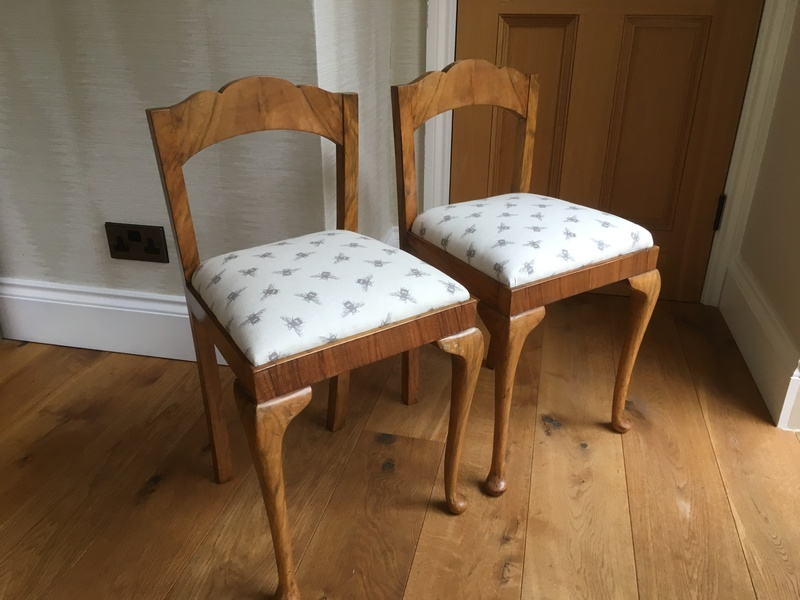 Pair Of Reupholstered Vintage Childrens Chairs With Queen Anne Legs