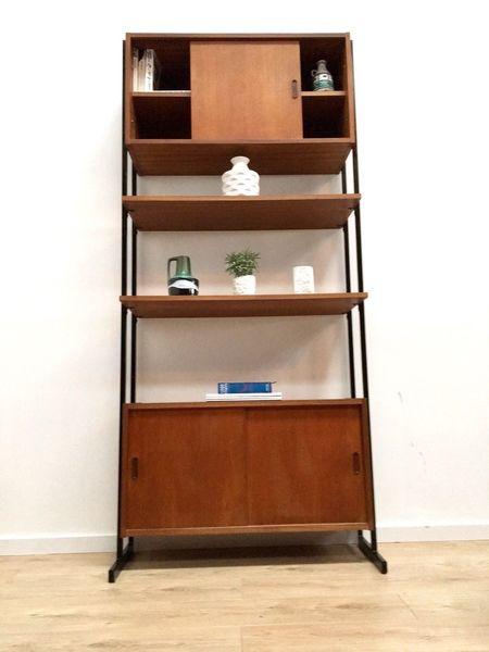 Mid Century Vintage Teak & Metal Avalon Freestanding Shelving Unit And Cupboard