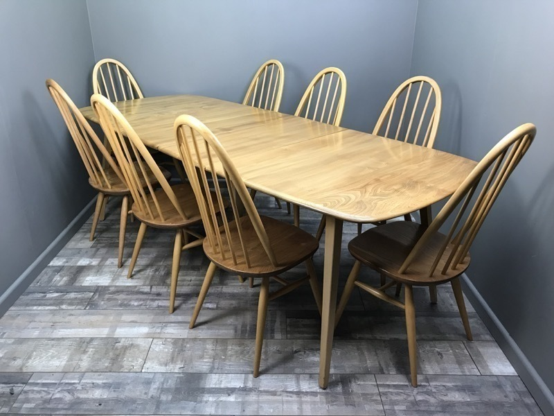 Stunning Ercol Grand W/ 8 Chairs Vintage Retro Elm Blonde Extending Dining Table