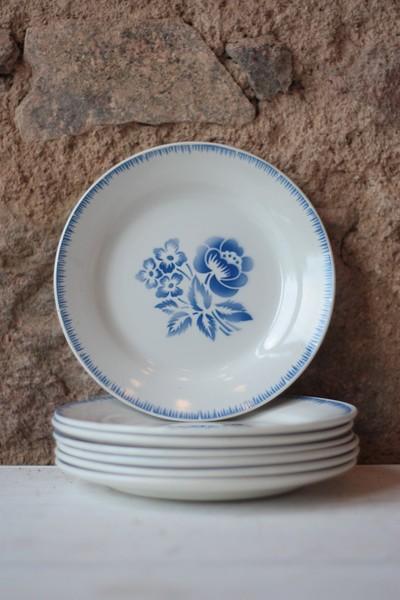 """Set Of 7 Vintage Sarreguemines 8"""" Ironstone Plates"""