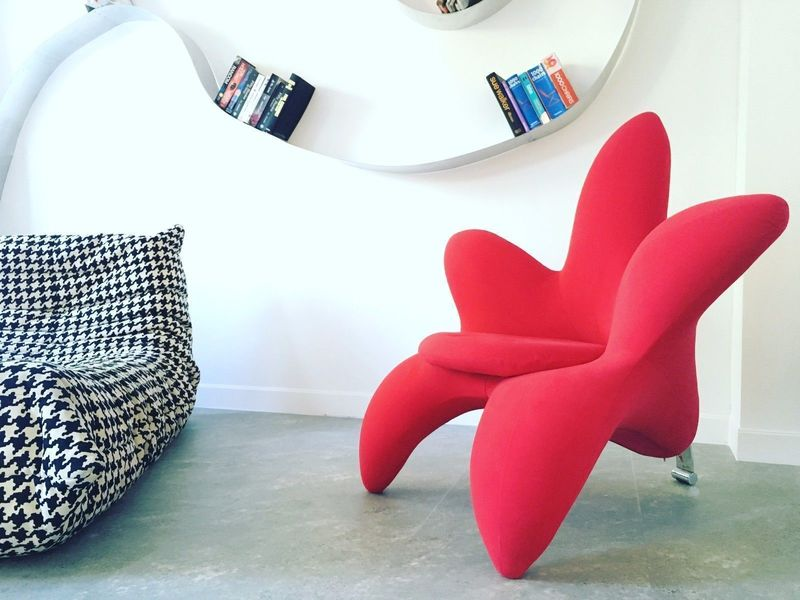 Unique Funky Design Modern Red Flower Chair Armchair Edra Style
