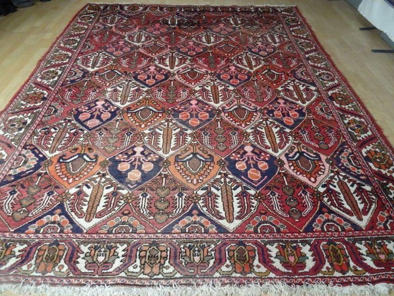 Large Persian Bakhtiar Carpet Rug Hand Made Vintage Wool Oriental 10ft X 7ft 10
