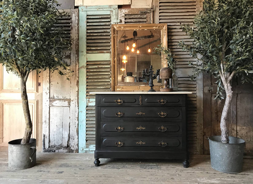 Beautiful Vintage French Hand Painted Chest Of Drawers With Marble Top