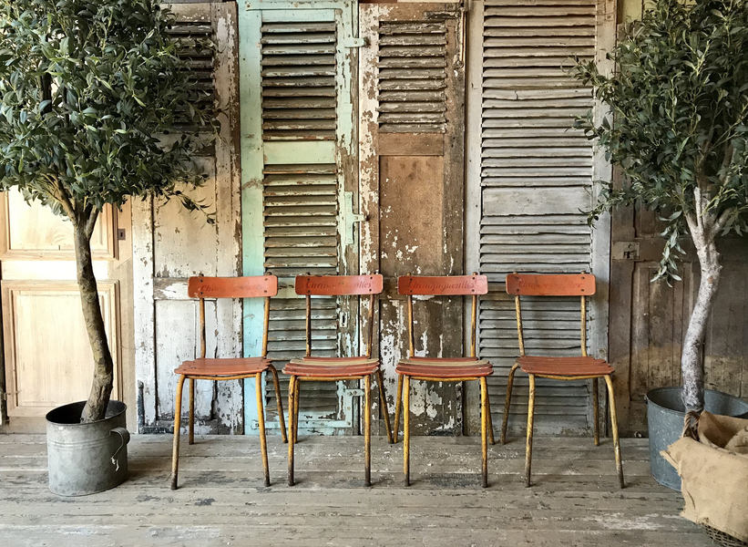 Four Rustic French Industrial / Retro Style Cafe Chairs.
