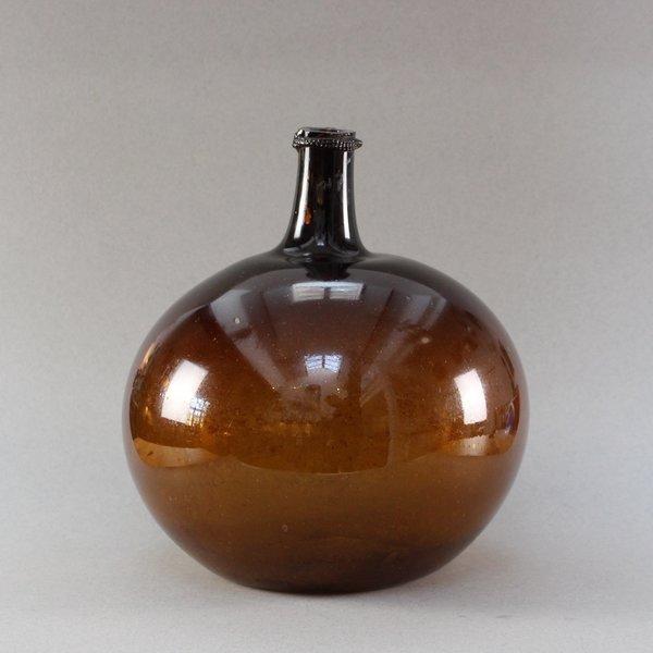 Handblown Amber Glass Demijohn