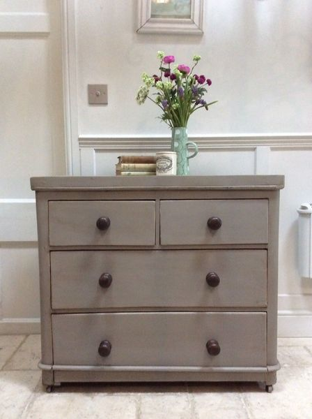 Small Antique Painted Pine Victorian Chest Of Drawers