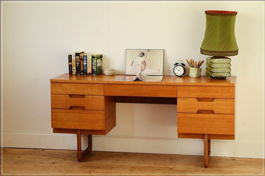 Mid Century Desk Teak Vintage Danish Design Uniflex
