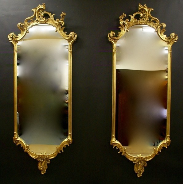 Very Large Pair Of 19 Th Century Gilt Gesso Mirrors
