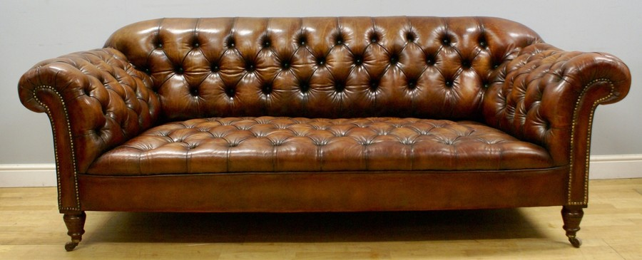 A Victorian Buttoned Leather Chesterfield