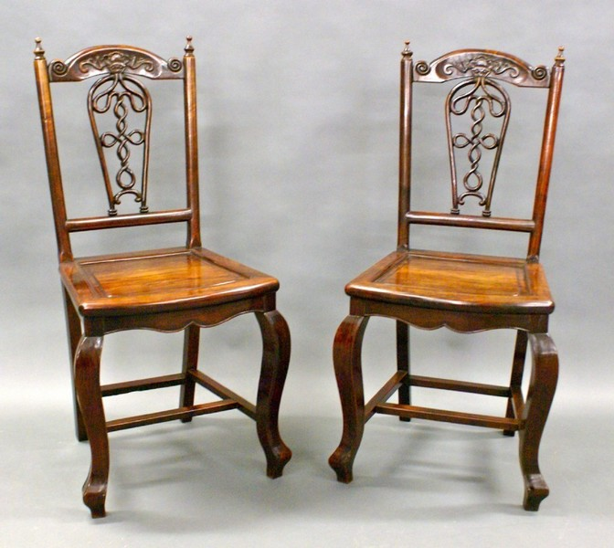 A Lovely Pair Of 19 Th Century Chinese Hardwood Side Chairs