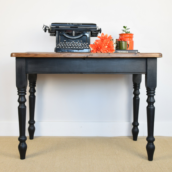 Rustic Pine Table, Painted Desk, Small Black Table, Vintage Kitchen Dining Table