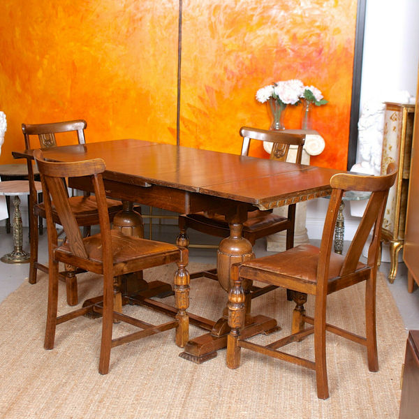 Antique Oak Dining Table And 4 Chairs Country Arts Crafts Deco Country Unknown Vinterior