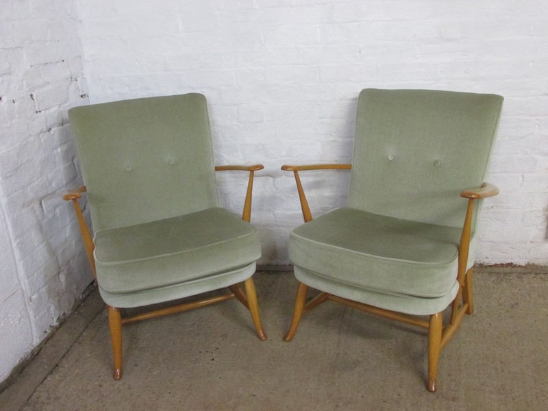 Ercol 1950s Pair Of Light Finish Solid Beech And Green Fabric Easy Or Armchairs
