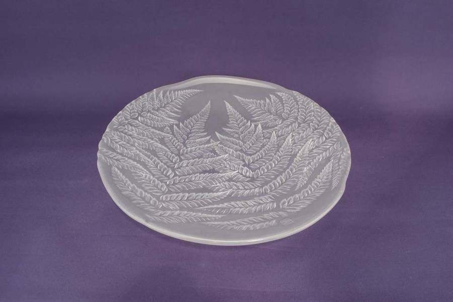 Glass Modernist Fern 12.8'' Bowl Hoya Vintage Impressive Frosted Large Round Dinner Rice Late 1900s Japanese / Pre Xmas Delivery Gift
