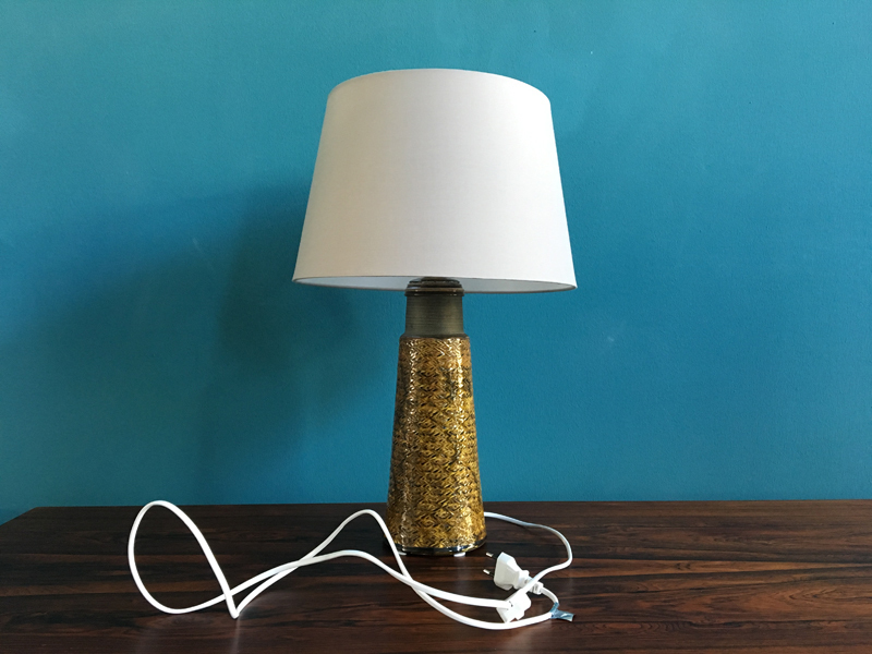 Large Danish Stoneware Table Lamp With Mustard Colored Glazing By Nils Kähler For Hak, 1960s