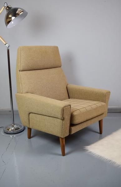 Mid Century Retro Vintage Danish Faun Pure Wool Lounge Arm Chair 1960s