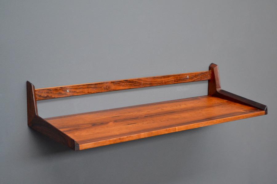 Original Vintage Mid Century Retro Danish Rosewood Floating Desk Shelf